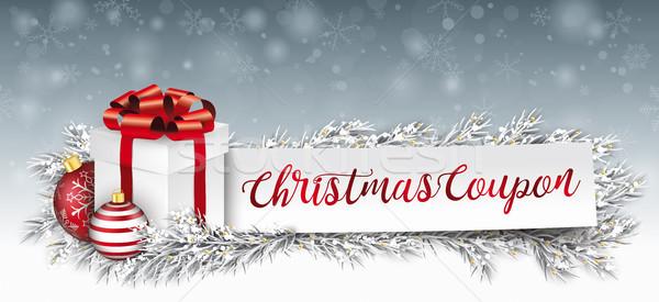 бумаги баннер красный заморожены Рождества подарок Сток-фото © limbi007