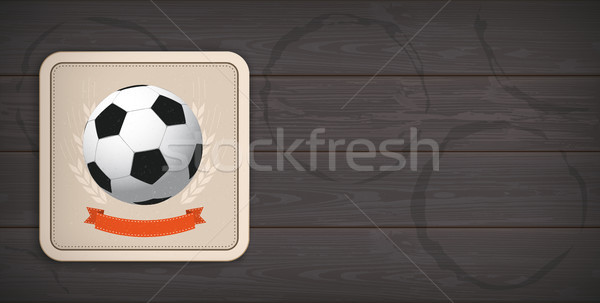 Dark Wooden Background Beer Coaster Classic Football Stock photo © limbi007
