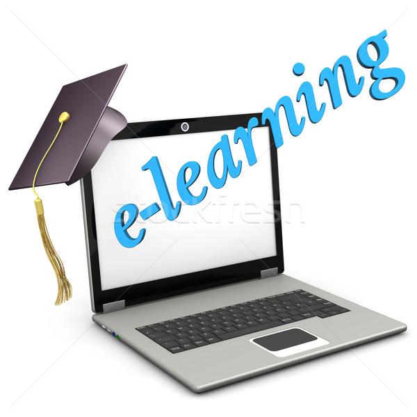 Online oktatás notebook érettségi sapka kék szöveg Stock fotó © limbi007
