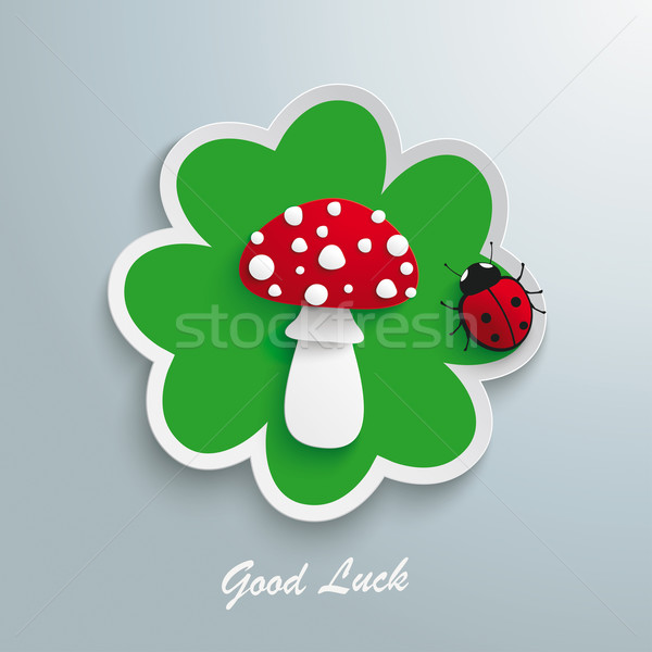 Green Shamrock Fly Agaric Good Luck Ladybug Stock photo © limbi007