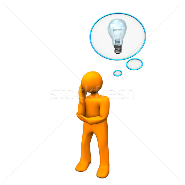 Burbuja de pensamiento idea naranja bombilla mujer Foto stock © limbi007