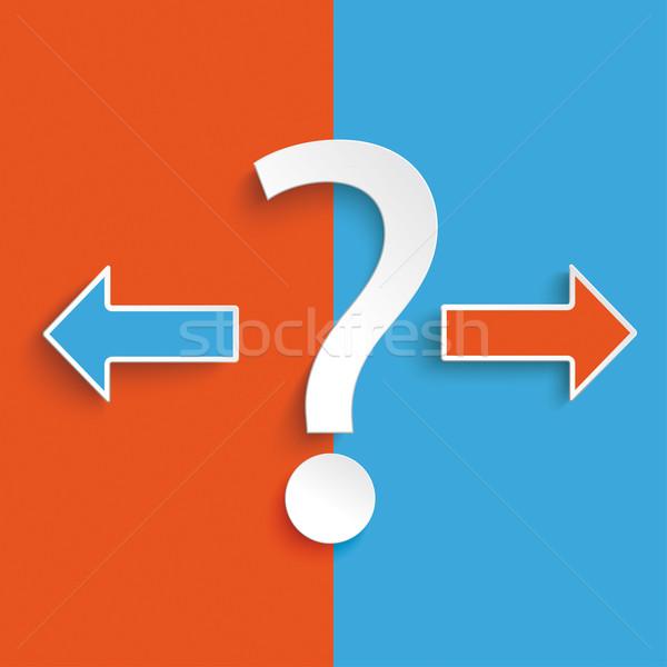 Mavi turuncu soru oklar soru işareti ünlem işareti Stok fotoğraf © limbi007