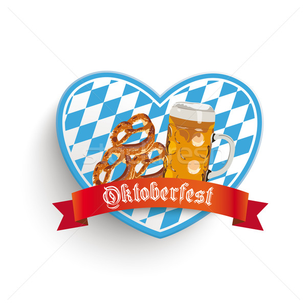 Bavarian Heart Beer Pretzel Stock photo © limbi007