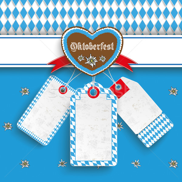 Bavarian Oktoberfest Price Stickers Heart Edelweiss Stock photo © limbi007