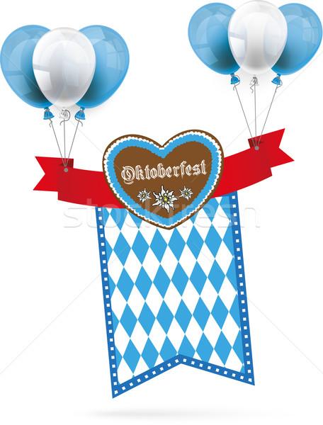Oktoberfest Gingerbread Heart Ribbon Flag Balloons Stock photo © limbi007