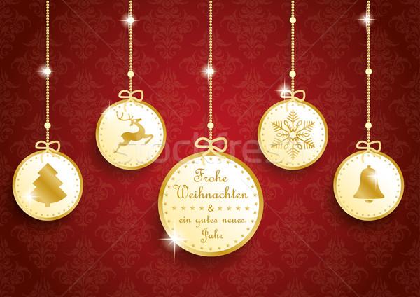 Golden Christmas 5 Circles Red Ornaments Stock photo © limbi007