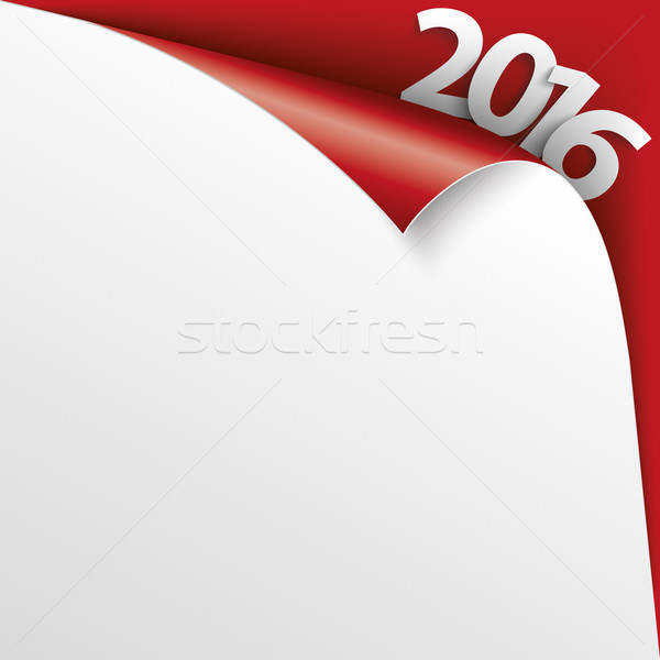 2016 Scrolled Corner Red Paper Cover Stock photo © limbi007