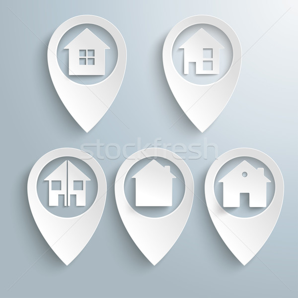 5 Location Markers Houses Set Stock photo © limbi007