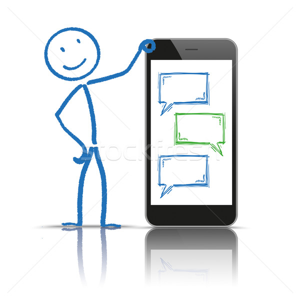 Stickman Messenger Smartphone Speech Bubbles Stock photo © limbi007