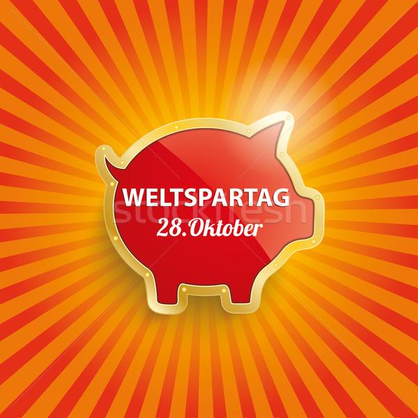 Golden Piggy Bank Retro Sun Weltspartag Stock photo © limbi007