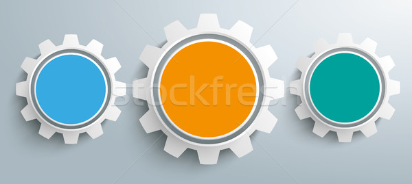 3 Colored Gears Infographic Header SH Stock photo © limbi007