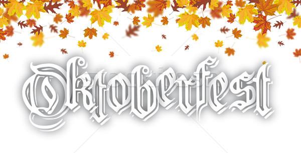 Najaar loof vallen oktoberfest tekst Stockfoto © limbi007