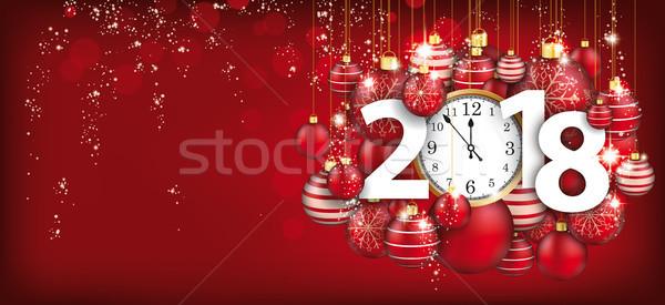 Hanging Red Baubles Christmas Golden Clock 2018 Header Stock photo © limbi007