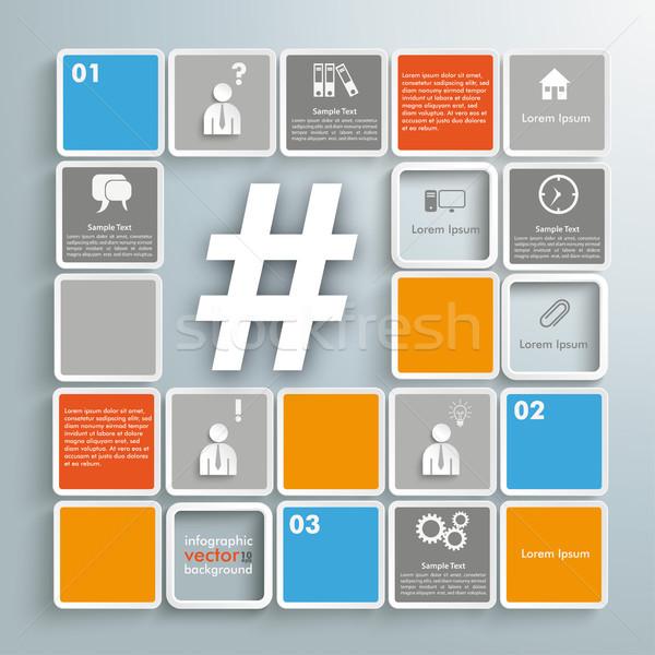 Mosaic Infographic Hashtag Stock photo © limbi007