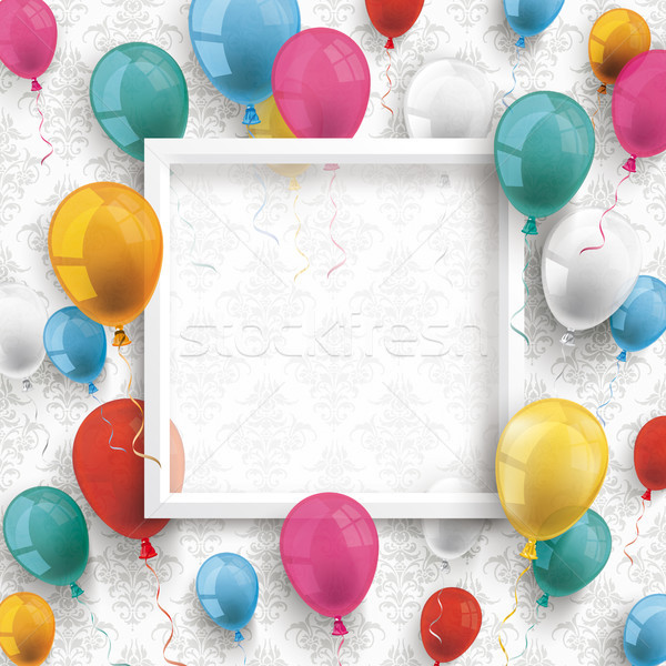 Colored Balloons White Frame Ornaments Wallpaper Stock photo © limbi007