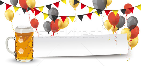Paper Banner Buntings Balloons Germany Beer Mug Stock photo © limbi007