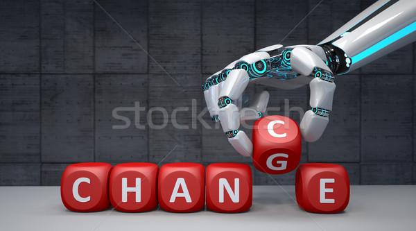 Robot hand verandering kans Rood Stockfoto © limbi007