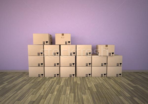 Eltávolítás szoba három ablakok csomagol iroda Stock fotó © limbi007