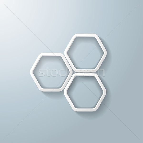 Three White Hexagon Rings Infographic Stock photo © limbi007