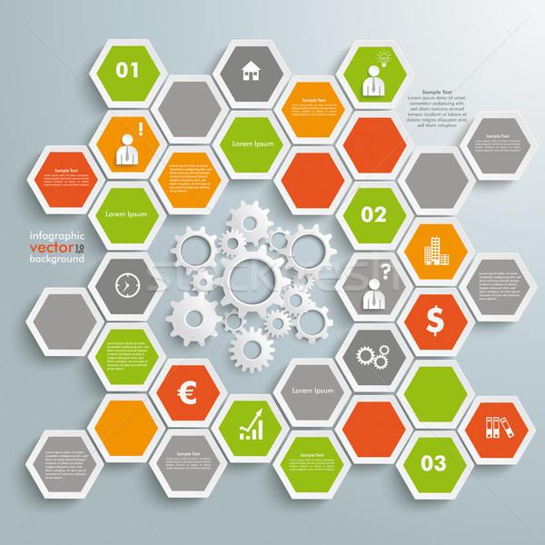 Colorato a nido d'ape infografica bianco attrezzi struttura Foto d'archivio © limbi007