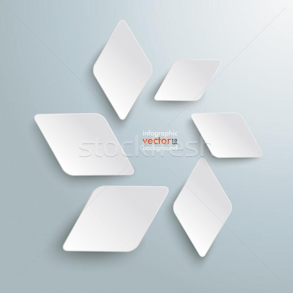 White Rhombus Pieces Abstract Graphic Stock photo © limbi007