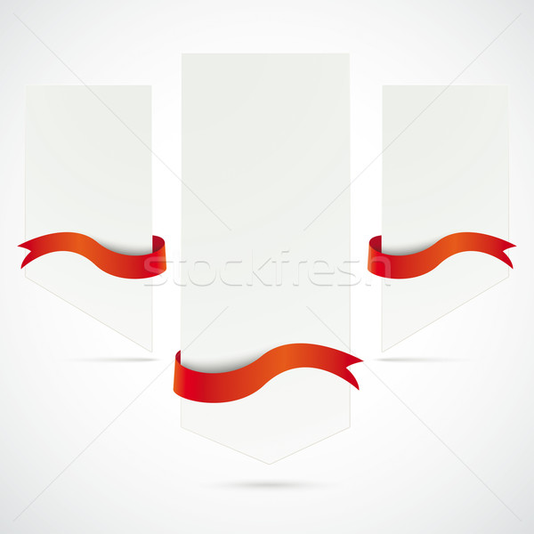 Stock photo: 3 White Boards Red Flags