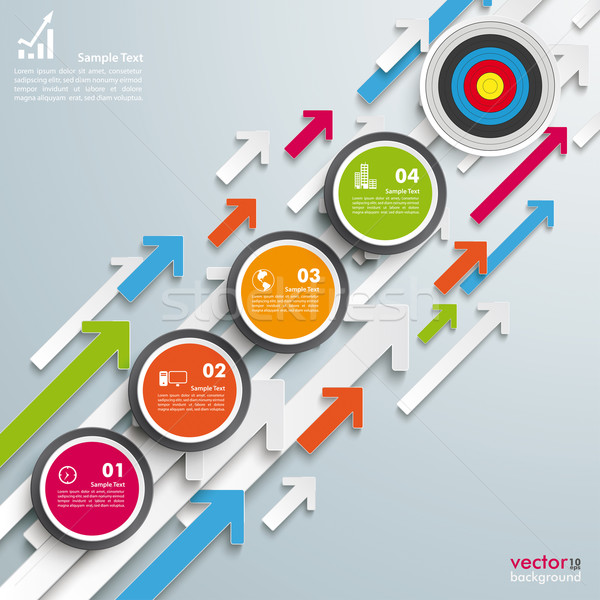 Colored Arrows Growth Circles 5 Steps Target Stock photo © limbi007