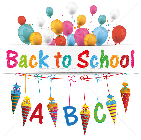 Candy Cones Banner Balloons Backt to school Stock photo © limbi007