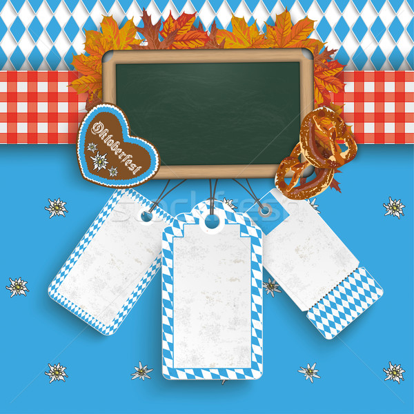 Oktoberfest Banner Foliage Blackboard 3 Price Stickers Stock photo © limbi007