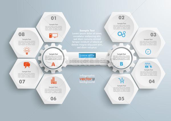Hexagons 2 Gears Tab Infographic Stock photo © limbi007