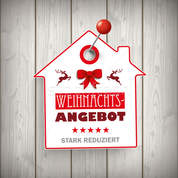 Weihnachten House Price Sticker Wood Pin Stock photo © limbi007
