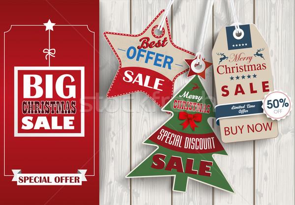 Side Oblong Banner Christmas Sale Wood 3 Shopmarks Stock photo © limbi007