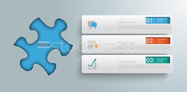 Puzzle Hole 3 Tabs Infographic Stock photo © limbi007