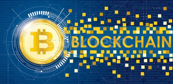 Golden Bitcoin Data Circuit Board Banner Blockchain Stock photo © limbi007