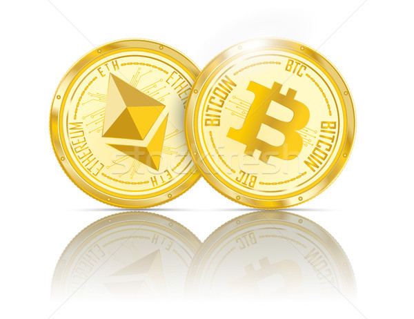 Golden Coins Ethereum Bitcoin Mirror Stock photo © limbi007