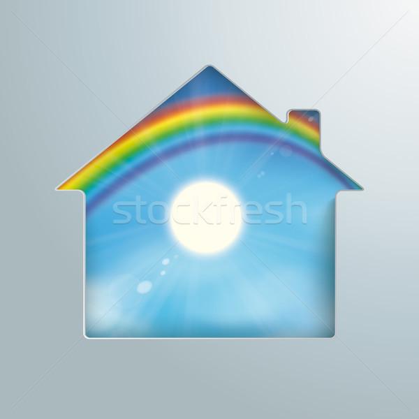 House Hole Sun Rainbow Blue Sky Stock photo © limbi007
