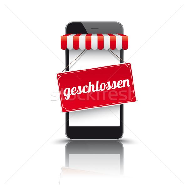 Smartphone Red Awning Geschlossen Stock photo © limbi007
