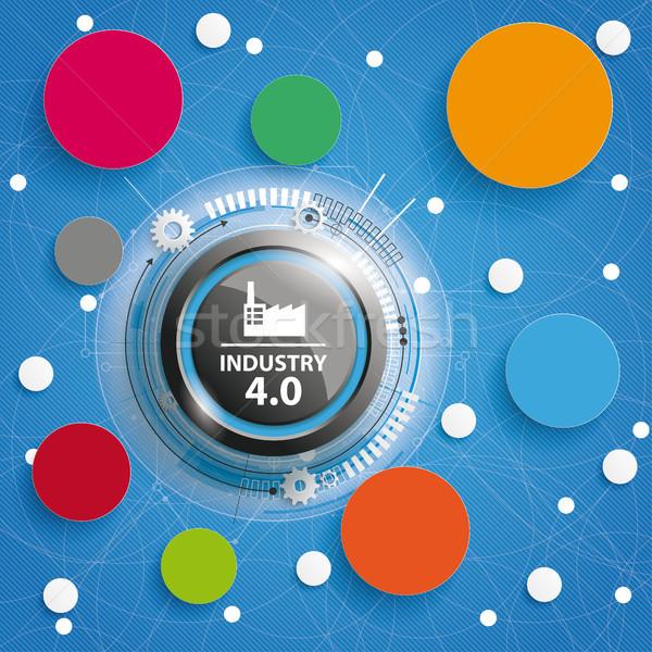 Industry 4.0 Circle Networks Blue Background Stock photo © limbi007