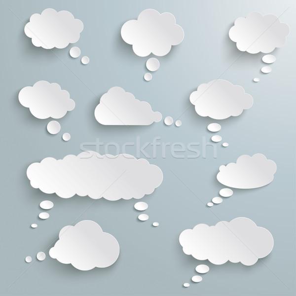 考え 泡 セット 雲 グレー eps ストックフォト © limbi007