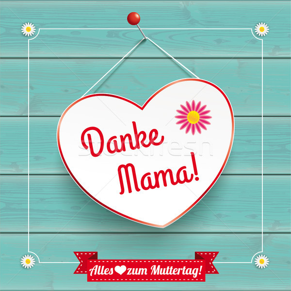 Flowers Heart Vintage Frame Wood Danke Mama Stock photo © limbi007