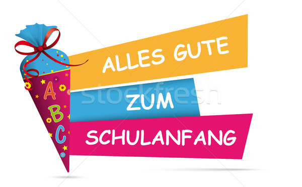 Candy Cone Colored Banner Alles Gute Zum Schulanfang Stock photo © limbi007