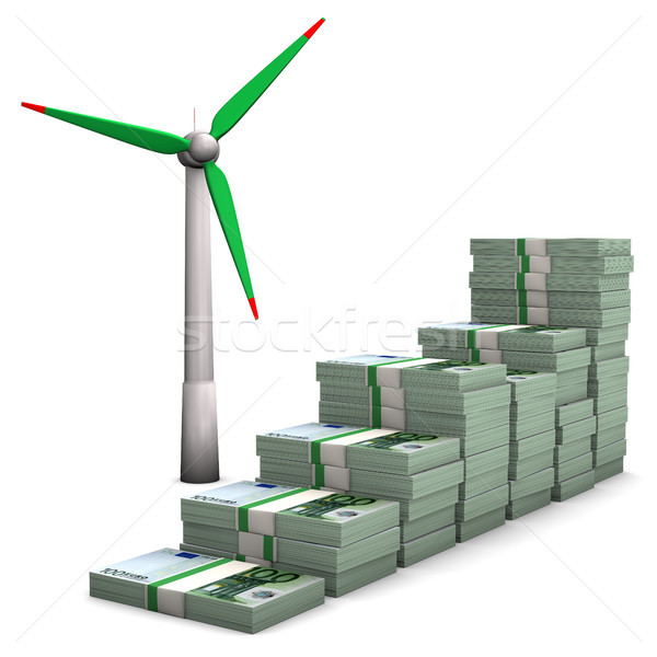 Money Chart Wind Turbines Stock photo © limbi007