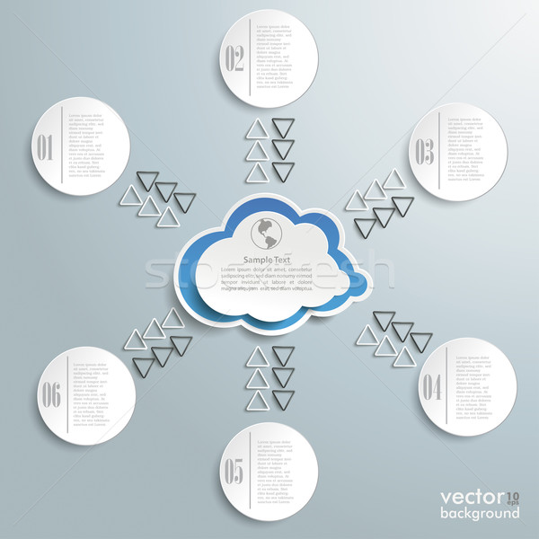 Connected Cloud With Six Circles Infographic Stock photo © limbi007