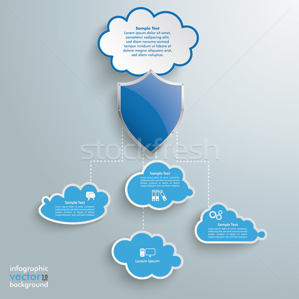 Blue Clouds Protection Shield Infographic Stock photo © limbi007