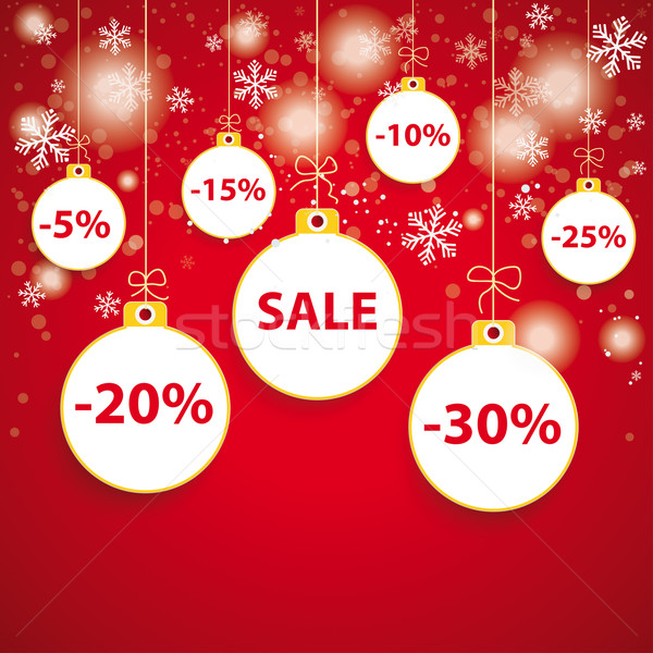 Snow Red Background White Baubles Sale Stock photo © limbi007