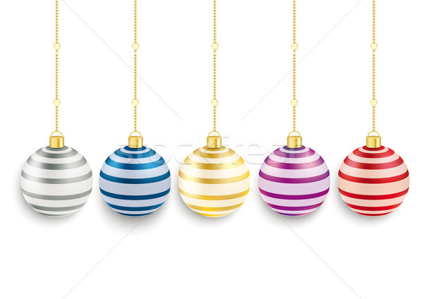 5 Colored Striped Christmas Baubles  Stock photo © limbi007