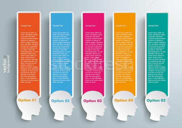 5 Heads Colored Speech Bubble Banners Stock photo © limbi007