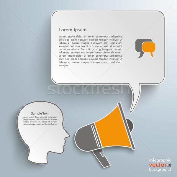 Bullhorn Head Speech Bubble Stock photo © limbi007