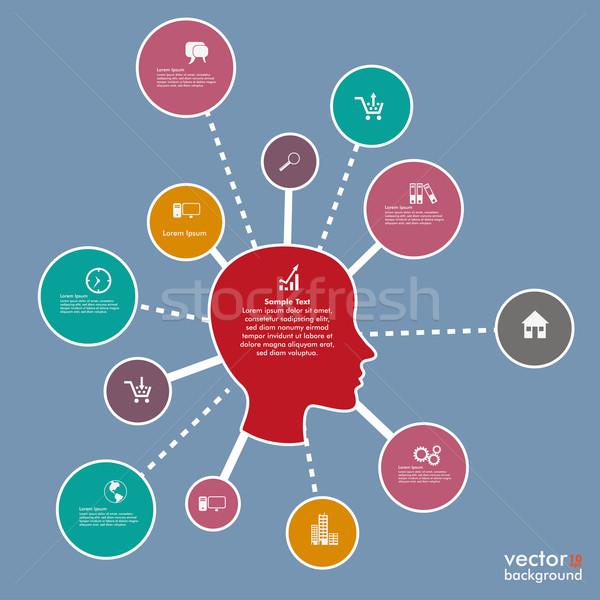 Infografika fej hálózatok terv citromsárga eps Stock fotó © limbi007
