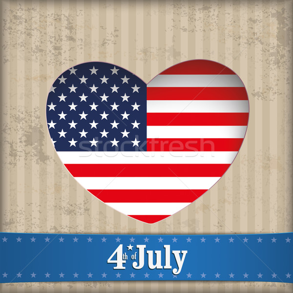 Vintage Heart Hole 4 July US Flag Banner Stock photo © limbi007